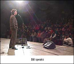 Bill Bruford speaks to the audience
